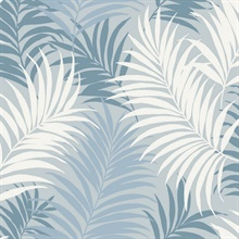 Blue, White & Sky Blue Tropical Large Palm Leaf Wallpaper