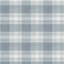 Blue Woven Buffalo Check Plaid Wallpaper
