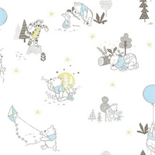 Blue & Yellow Disney Winnie the Pooh Playmates Wallpaper