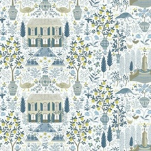 Blue & Yellow Large 18th Century Farmhouse Rifle Paper Wallpaper