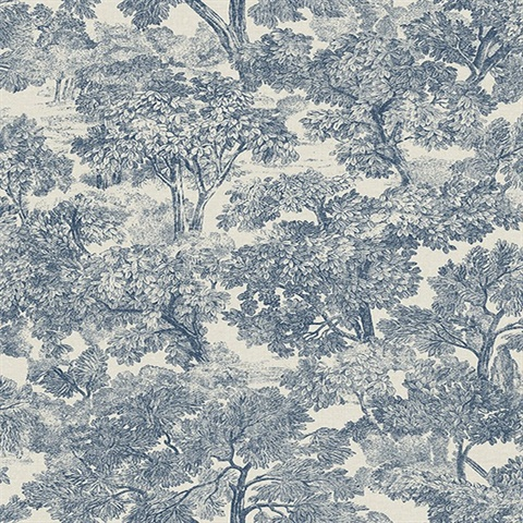 Blyth Blue Toile Wallpaper