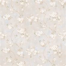 Braham Grey Country Floral Scroll Wallpaper