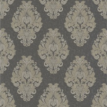 Bromley Charcoal Satin Damask