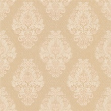 Bromley Peach Satin Damask