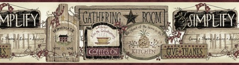 Brown Gathering Room Signs Border