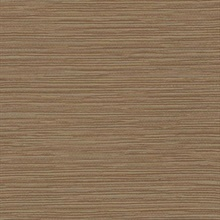 Brown Ramie Faux Weave Horizontal Textured Wallpaper