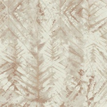 Brown Textural Impremere Leaf Wallpaper