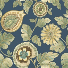 Calypso Boho Floral Navy Blue Wallpaper
