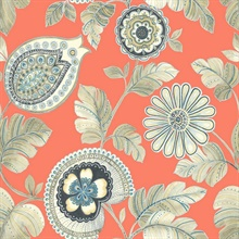 Calypso Boho Floral Orange Wallpaper