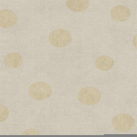 Caro Beige Polka Dots Wallpaper