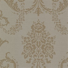 Chambers Brass Floral Damask Wallpaper