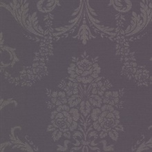 Chambers Eggplant Floral Damask Wallpaper