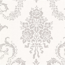 Chambers Platinum Floral Damask Wallpaper