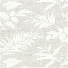 Chandler Grey Botanical Faux Grasscloth Vinyl Wallpaper