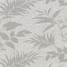 Chandler Light Grey Botanical Faux Grasscloth Vinyl Wallpaper