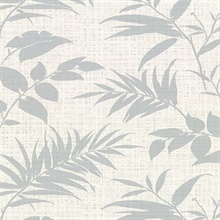 Chandler Off-White Botanical Faux Grasscloth Vinyl Wallpaper