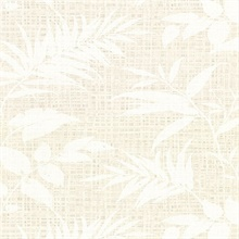 Chandler White Botanical Faux Grasscloth Vinyl Wallpaper