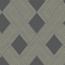Charcoal Beveled Edge Geometric Wallpaper