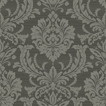 Charcoal Black & Grey Commercial Damask Wallpaper
