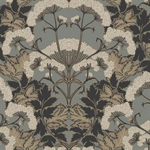 Charcoal & Gold Yarrow Nouveau Wallpaper