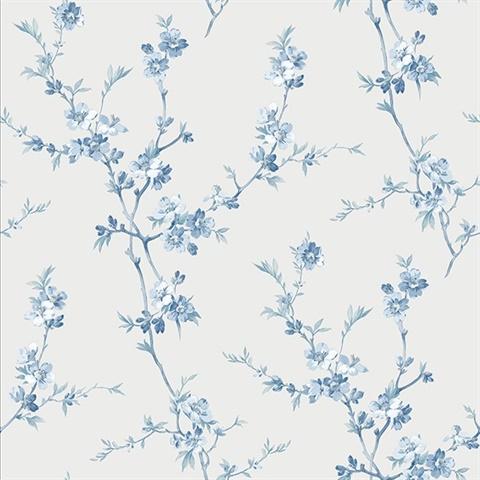 75455ff4c 3112-002775   Cherry Blossom Light Blue Trail Wallpaper   Wallpaper  Boulevard