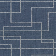 Clarendon Indigo Geometric Faux Grasscloth Vinyl Wallpaper