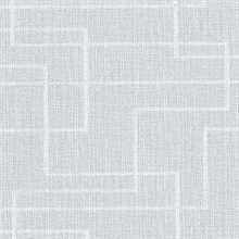 Clarendon Sky Blue Geometric Faux Grasscloth Vinyl Wallpaper