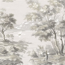 Classic French Countryside Black & Taupe Toile Wallpaper