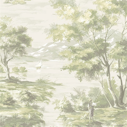 Classic French Countryside Green Toile Wallpaper