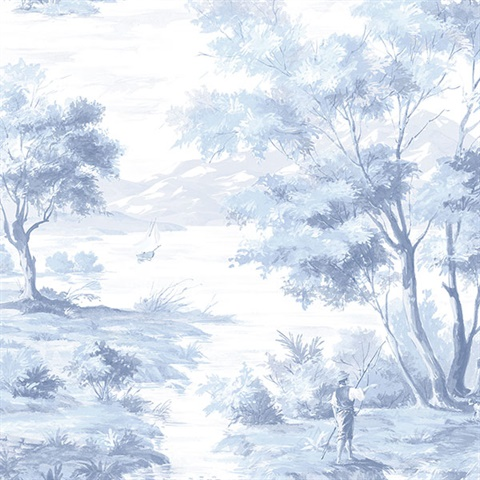 Classic French Countryside Light Blue & White Toile Wallpaper