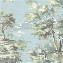 Classic French Countryside Turquoise  Toile Wallpaper