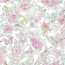 Coral Disney Princess Royal Floral Wallpaper
