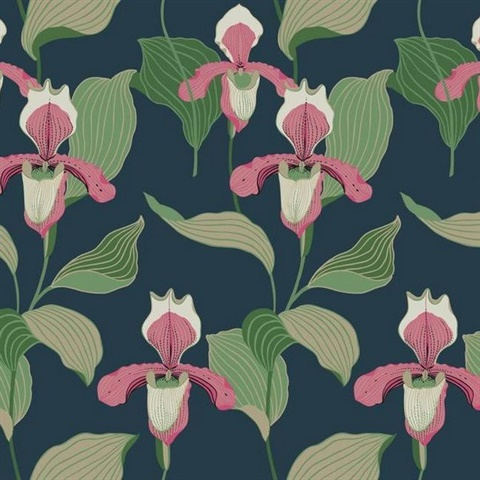 Coral & Navy Lady Slipper Floral Wallpaper