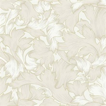 Cream Acanthus Toss Wallpaper