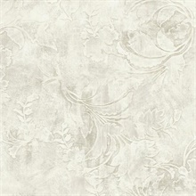 Cream Entablature Scroll Wallpaper