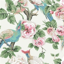 Cream, Light Blue & Pink Garden Plume Wallpaper
