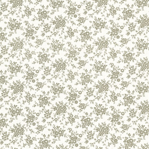 Dainty sage small floral wallpaper