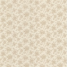 Dainty Taupe Small Floral Wallpaper