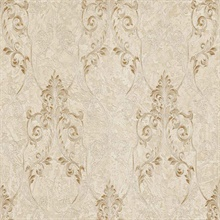Damasco Samba Cream Scroll Damask Wallpaper