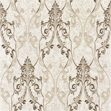 Damasco Samba Taupe Scroll Damask Wallpaper