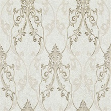 Damasco Samba White Scroll Damask Wallpaper