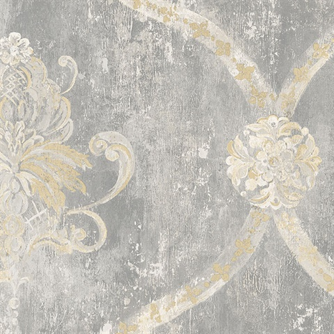 Damask Harlequin Grey & Beige Wallpaper