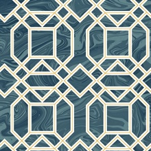 Daphne Blue Trellis Wallpaper