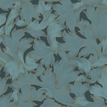 Dark Blue Acanthus Toss Wallpaper
