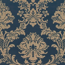 Dark Blue Brixham Raised Damask