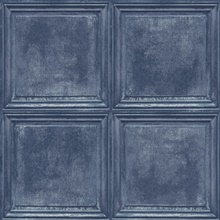 Dark Blue Charleston Faux Wood Panels Wallpaper