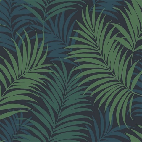 Ln10112 Dark Blue Green Turquoise Tropical Large Palm Leaf Wallpaper