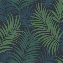 Dark Blue, Green & Turquoise Tropical Large Palm Leaf Wallpaper