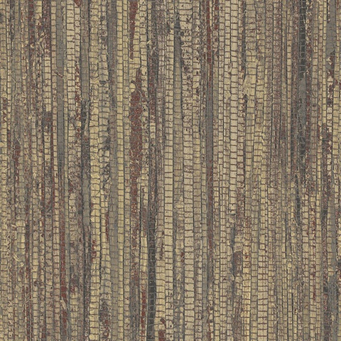 Dark Brown Vertical Faux Grasscloth