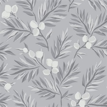 Dark Grey, Grey & White Plums and Leaves Wallpaper